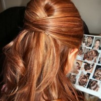 Highlighted Bouffant Half Up Half Down Hairstyle for Wedding