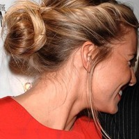 Side View of Chic Boho Bun Updo