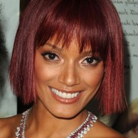 Celebrity Selita Ebanks Red Blunt Bob Hairstyle with Blunt Bangs