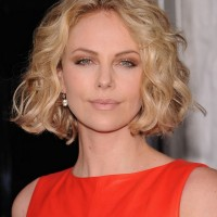 Charlize Theron Short Bob Hairstyle with Curls for Summer