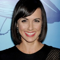 Constance Zimmer Medium Black Bob Hairstyle with Side Swept Bangs