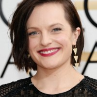 Elisabeth Moss Deep Side Parted Bob Hairstyle with Waves