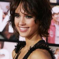 Jessica Alba Cute Short Curly Bob Hairstyle for Women