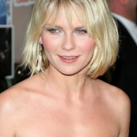 Kirsten Dunst Short Layered Bob Hairstyle with Bangs