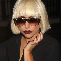 Lady Gaga Short Blunt Bob Haircut with Blunt Bangs
