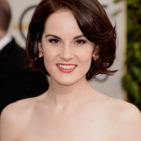 Layered Bob Hairstyle for Round Face Shapes from Michelle Dockery