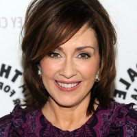 Patricia Heaton Medium Bob Hairstyle with Bangs for Thick Hair