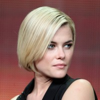 Rachael Taylor Haircut: Side Parted Stacked Bob Haircut