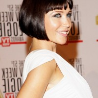 Side View of Dannii Minogue A line Bob Haircut