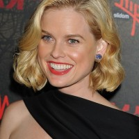 Alice Eve Short Blonde Curly Bob Hairstyle