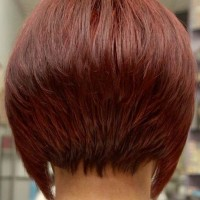 Back View of Red Inverted Bob Hairstyle