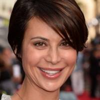 Catherine Bell Side Parted Straight Cut for Short Hair