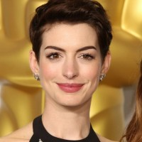 Celebrity Short Brown Pixie Cut from Anne Hathaway