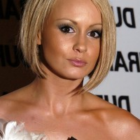 Chanelle Hayes Cute Short Inverted Bob Hairstyle for Round Faces