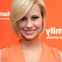 Chelsea Kane Cute Short Blonde Graduated Bob Hairstyle with Bangs