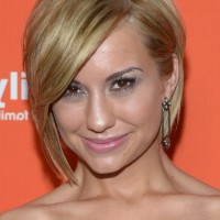 Chelsea Kane Layered Short Haircut with Side Swept Bangs