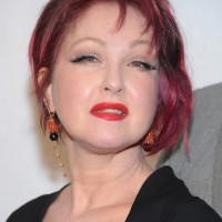 Cyndi Lauper Short Pink Inverted Bob Hairstyle