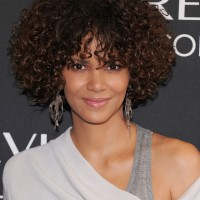 Halle Berry Short Curly Hairstyles for Oval Faces