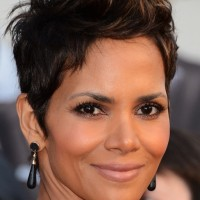 Halle Berry Short Spiked Dark Brown Haircut
