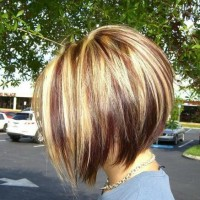 Side View of Highlighted Inverted Bob Haircut