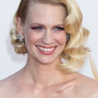 January Jones Short Blonde Side Parted Retor Curly Bob Hairstyle
