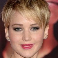 Jennifer Lawrence Short Messy Pixie Cut with Bangs