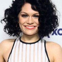 Jessie J Sexy Short Black Curly Bob Hairstyle for Round Faces