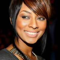 Keri Hilson Short Inverted Bob Haircut with Side Swept Bangs