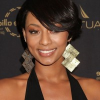 Keri Hilson Side Parted Straight Cut with Long Side Swept Bangs for Black Women