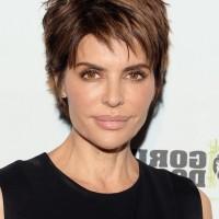 Lisa Rinna Short Messy Haircut for Thick Hair