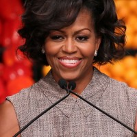 Michelle Obama Medium Wavy Curly Hair Style for Women