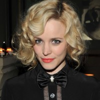 Rachel McAdams Short Blonde Curly Hairstyle with Bangs