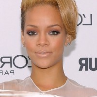 Rihanna Cool Short Side Parted Straight Cut