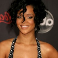 Rihanna Short Black Layered Curly Bob Hairstyle