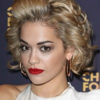 Rita Ora Short Curly Hair Style with Layers