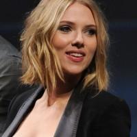 Scarlett Johansson Short Tousled Messy Wavy Hairstyle