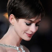 Side View of Anne Hathaway Short Pixie Haircut