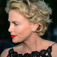 Side View of Charlize Theron Short Curly Hairstyle