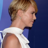 Side View of Charlize Theron Side Parted Short Straight Cut
