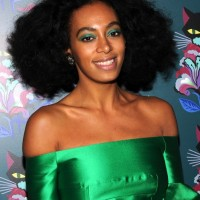 Solange Knowles Short African American Curly Hairstyle