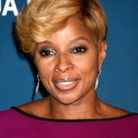 African American Short Blonde Haircut with Bangs from Mary J. Blige