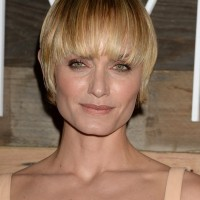 Amber Valletta Short Straight Haircut with Blunt Bangs
