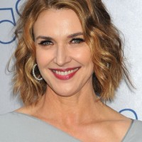 Brenda Strong Chin Length Wavy Bob Hairstyle for Mature Women