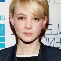 Carey Mulligan Side Parted Short Straight Haircut with Bangs