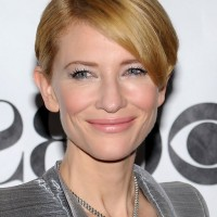 Cate Blanchett Short Side Parted Hairstyle with Side Swept Bangs