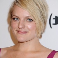 Elisabeth Moss Simple Easy Short Blonde Haircut with Side Swept Bangs