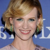 January Jones Short Wavy Haircut with Side Swept Bangs