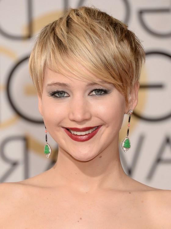 Jennifer Lawrence Short Layered Razor Cut with Bangs