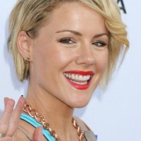Kathleen Robertson Most Popular Short Side Parted Haircut with Bangs