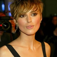 Keira Knightley Short Layered Straight Haircut with Bangs for Summer